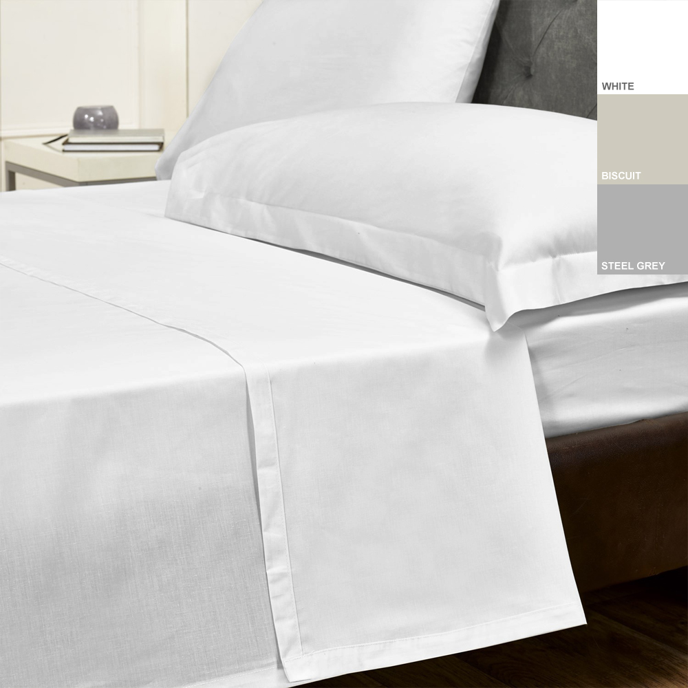 200TC 100% Cotton Percale Flat Sheet