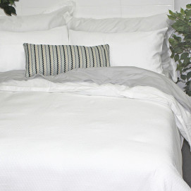 300TC Sloane Jacquard Duvet Cover Set White