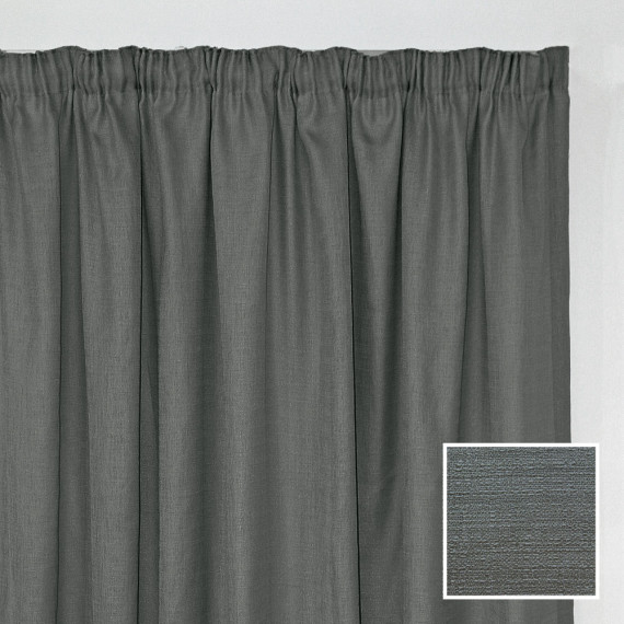 Georgia Taped Curtain Charcoal