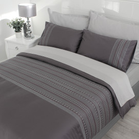 400TC Egyptian Cotton Embroidered Duvet Cover Set - Liberty Grey