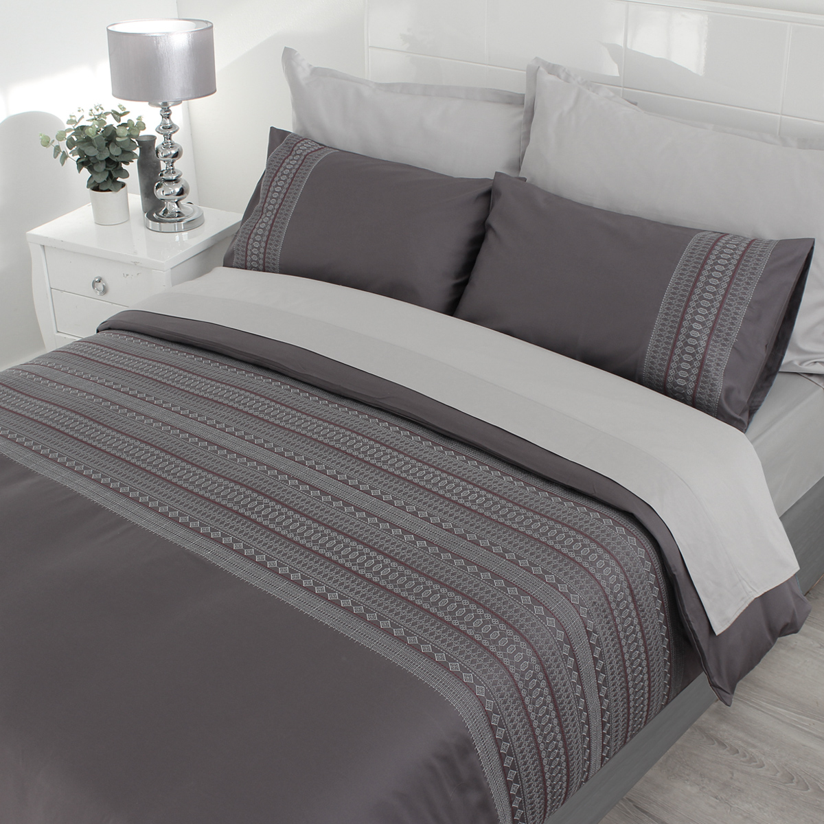 Duvet Covers.Sheraton 400tc Egyptian Cotton Duvet Cover Set Liberty Grey