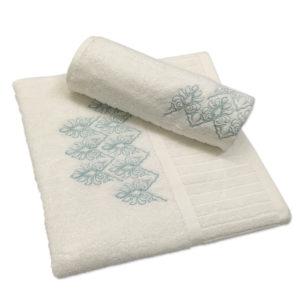 Colibri Embroidered Towel Set Joy Scroll Cream