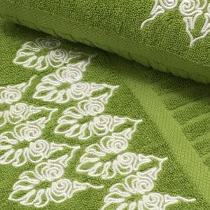 Colibri Embroidered Towel Set Joy Scroll Green