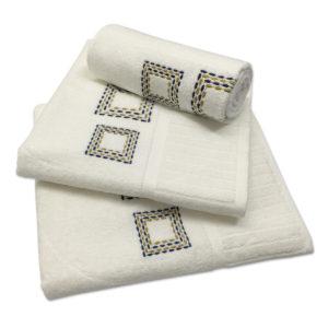 Colibri Embroidered Towel Set Seedblock Cream